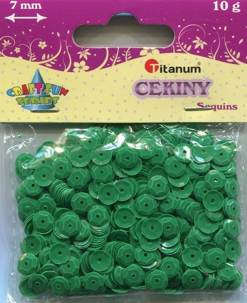 Cekiny zielone 7mm 10g