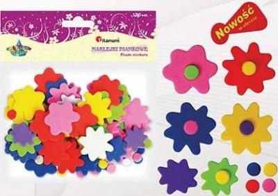 Dodatek dekoracyjny Craft-fun kształty piankowe samoprzylepne kwiaty i kropki