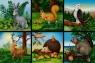 Klocki 16 elementowe Zwierzęta pól i lasów czerwone