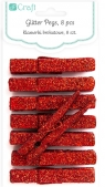Klamerki brokatowe czerwone, 8 szt