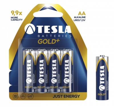 Baterie. 4x bateria alkaliczna. Tesla AA Gold+ LR06