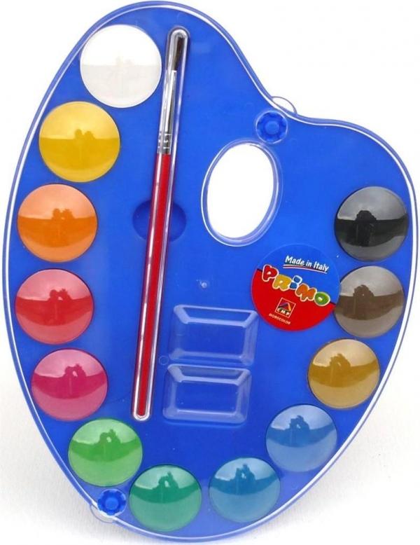 Farby wodne w pastylkach 12 kolorów + pędzelek paletka