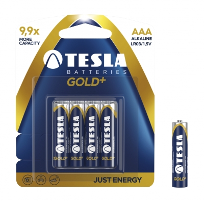 Baterie. 4x bateria alkaliczna. Tesla AAA Gold+ LR03