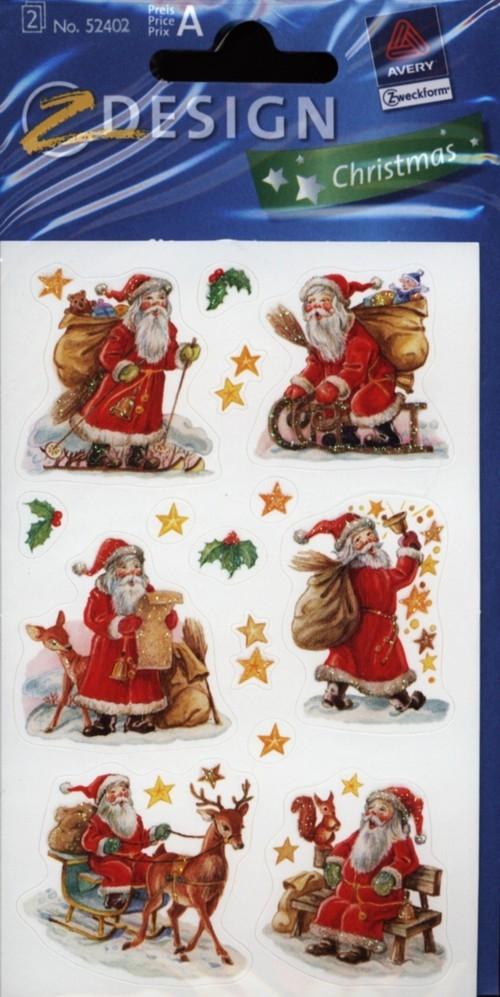 Naklejki błyszczące Mikołaje