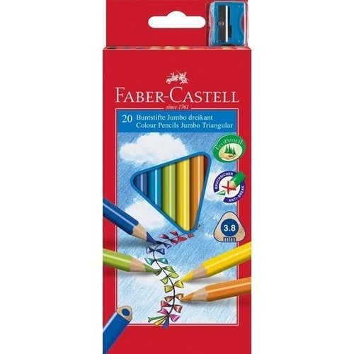 Kredki Faber-Castell Jumbo trójkątne 20 kolorów + temperówka