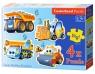 Puzzle konturowe 3-4-6-9 elementów Funny Building Machines 4 w 1 (005024)
