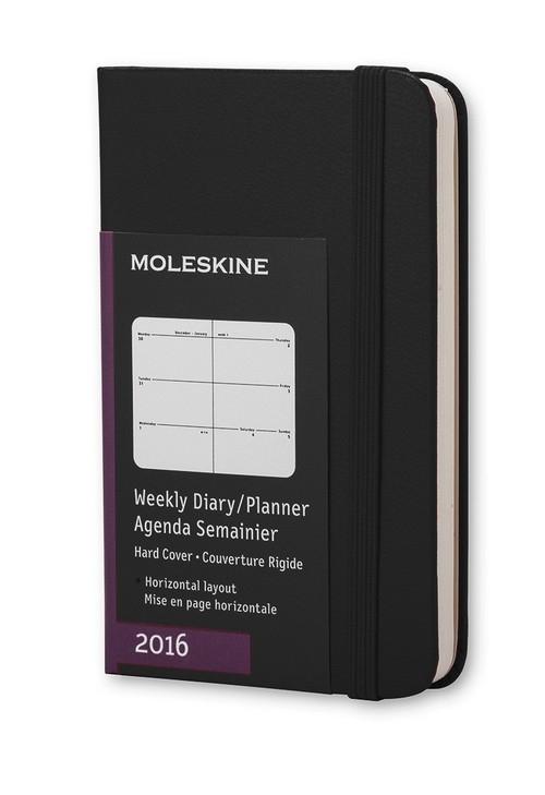 Kalendarz Moleskine 2016 Tygodniowy Horyzontalny XS czarny