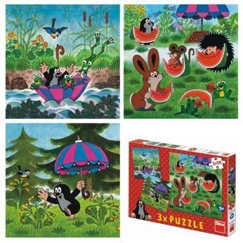 Puzzle 3x55 Krecik i parasol DINO