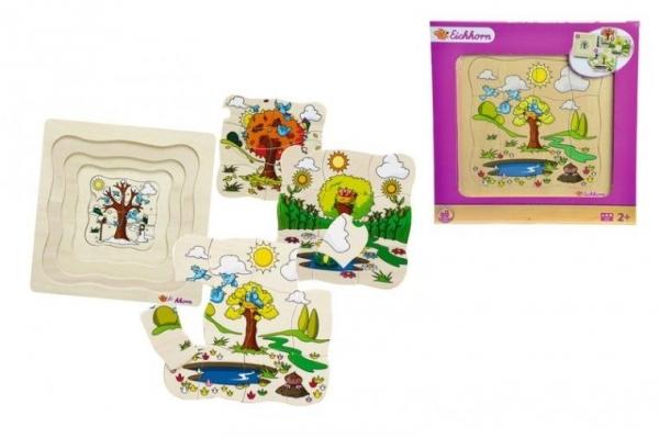 Puzzle drewniane 32 elementy 4 pory roku