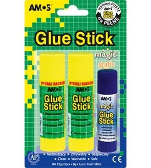 Klej w sztyfcie AMOS blister 22g x 2 sztuki + 8 g Magic