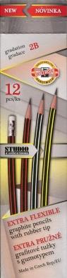 Ołówek grafitowy z gumką 2B wygibas 12 sztuk