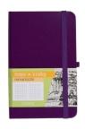Notes A6 kieszonkowy z gumką Romantyzm kratka fioletowy