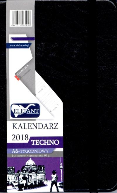Kalendarz Techno czarny A6 tyg. 2018 .