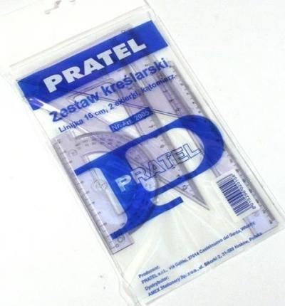 Zestaw kreślarski Pratel z linijką 20 cm etui (2004 PR)