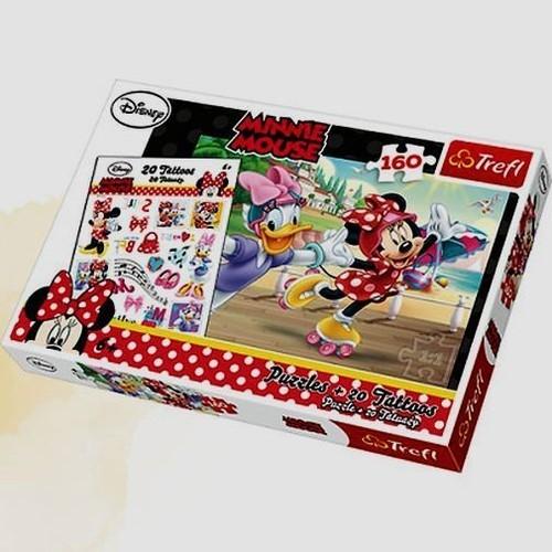 Minnie i Daisy na wrotkach Puzzle 160 + Tatuaże (90504)