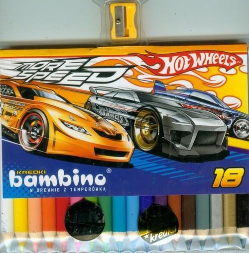 Kredki bambino drewniane 18 kolorów z temperówką Hot Wheels