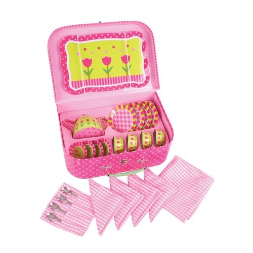 Różowy zestaw do herbaty w walizeczce
