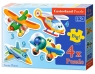 Puzzle konturowe 3-4-6-9, 4w1 Funny Planes (005048)