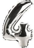 Balon Cyfra NR.4 srebrny 100cm