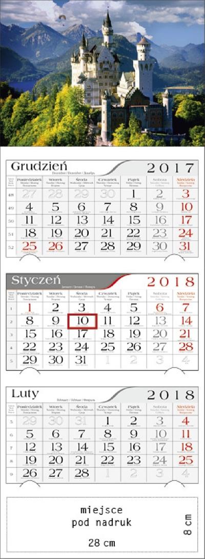 Kalendarz trójdzielny Zamek 2018 GM-917-T11-BIAŁY