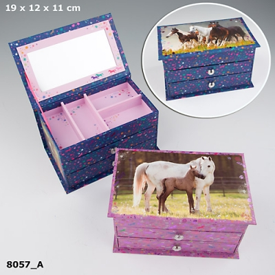 SZKATUŁKA NA BIŻUTERIĘ HORSES DREAMS GRANATOWA -