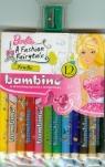 Kredki Bambino drewniane 12 kolorów z nadrukiem z temperówką Barbie