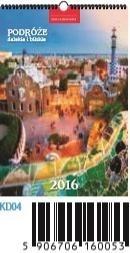Kalendarz ścienny Podróże dalekie i bliskie 2016 (13-planszowy) KD04