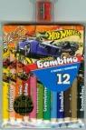 Kredki bambino drewniane 12 kolorów z nadrukiem z temperówką Hot Wheels
