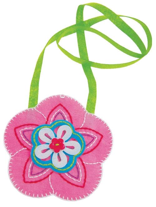 Filcowe robótki Torebka różowa kwiat (FCB1505)