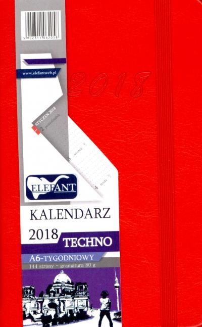 Kalendarz Techno czerwony A6 tyg. 2018 .