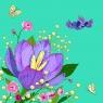 Karnet Swarovski kwadrat Kwiaty zielony (CL0608)