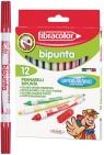 Pisaki fibracolor dwustronne 12 kolorów w etui