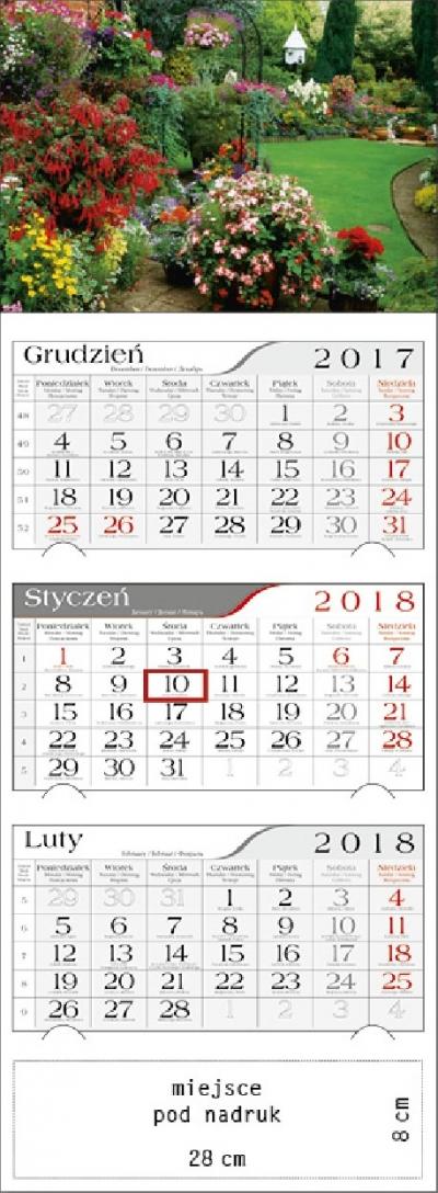 Kalendarz trójdzielny Kwiecisty Ogród 2018 GM-917-T11-BIAŁY