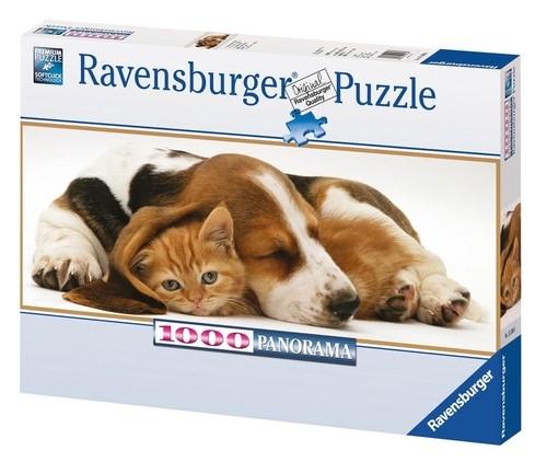Puzzle Kot i pies Panoramiczne 1000  (151080)