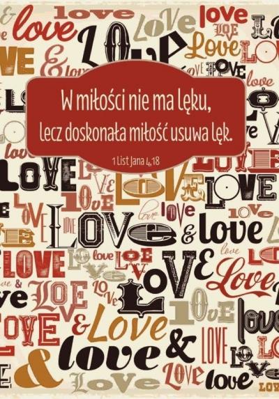 Kartka składana - W miłości nie ma lęku LOVE SZK 033