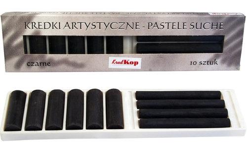 Kredki artystyczne pastele suche czarne 10 sztuk