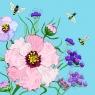 Karnet Swarovski kwadrat Kwiaty błękit (CL0610)