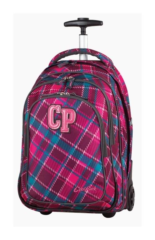 Plecak młodzieżowy na kółkach CoolPack Target Cranberry Check