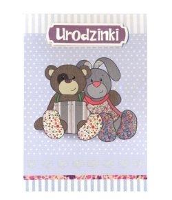 Karnet Urodzinki miś i króliczek DK-205 DK-205