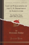 List of Publications of the U. S. Department of Agriculture