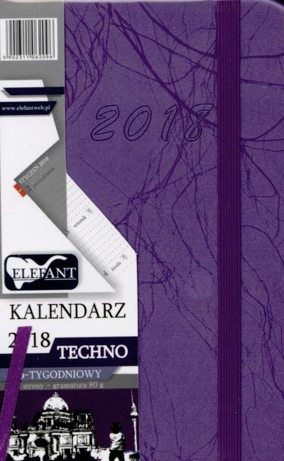 Kalendarz Techno fioletowy A6 tyg. 2018 .