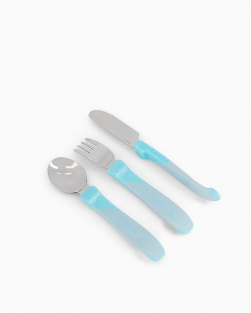 Twistshake Stalowe Sztućce 12m+ Pastelowo Niebieskie