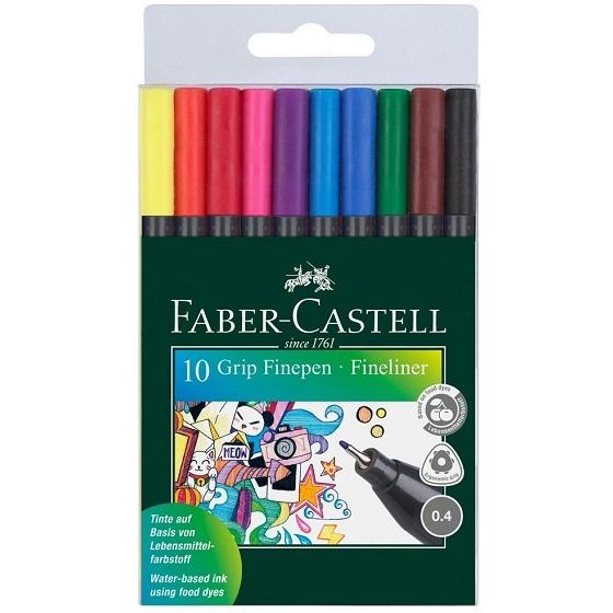 Cienkopisy Faber-Castell Grip Finepen, 10 kolorów (151610 FC)