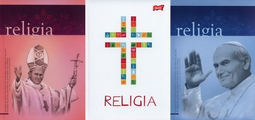 Brulion A5 w kratkę 64 kartki Religia 5 sztuk mix