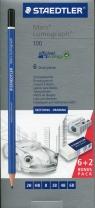 Ołówek Lumograph 6 sztuk 2H,HB,B,2B,4B,6B + gumka