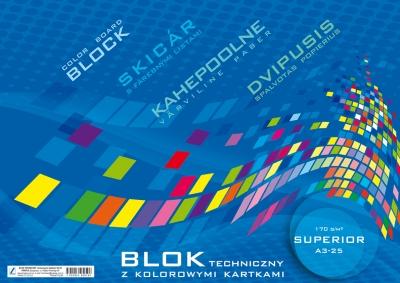 Blok techniczny kolorowy Superior A3 25k. .