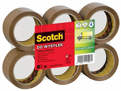 Taśma pakowa do wysyłek SCOTCH Hot-melt (371), 50mm, 66m, MIX kolorów - brąz, bezbarwna