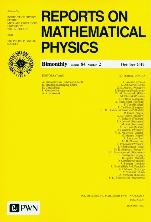 Reports on Mathematical Physics 84/2 - książka