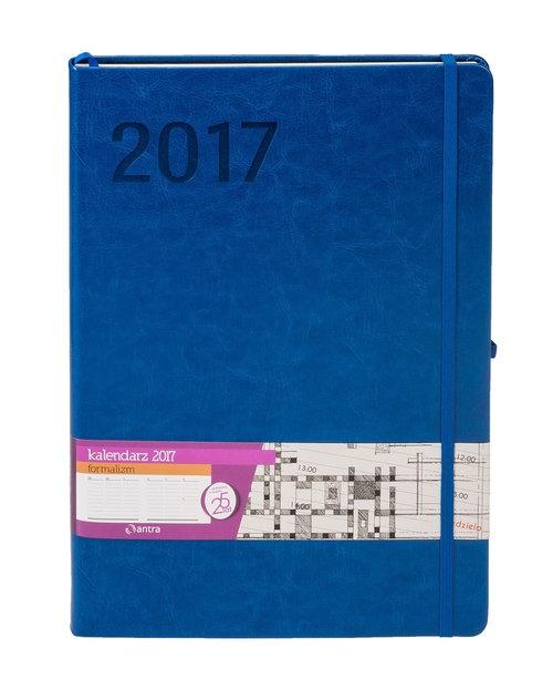 Kalendarz 2017 menadżerski A4 z gumką Formalizm niebieski
