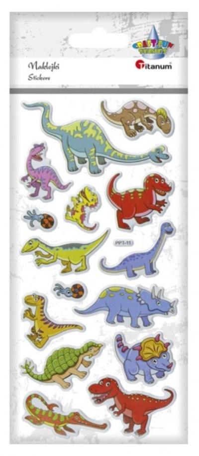 Naklejki wypukłe miękkie dinozaury 15szt